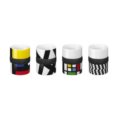 Les 4 jolies petites #tasses à #café en porcelaine de la marque #Po Prix 19,90 euros TTC #design #colorées