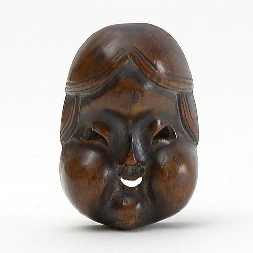 Japanese Wood Mask Netsuke of Otafuku or Okame # 2, 19th C.