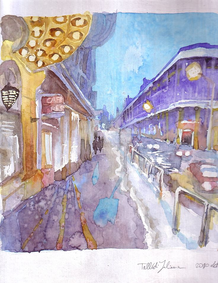 Budapest street at night - watercolor on cardboard.
