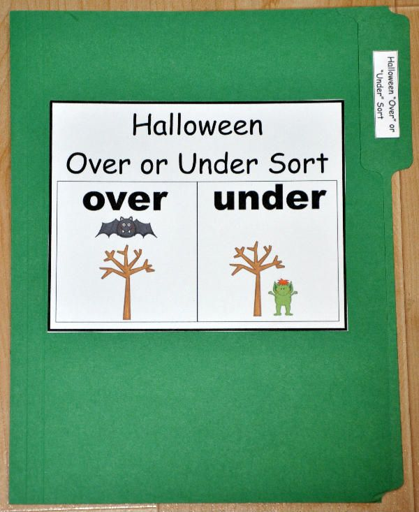 "The Halloween ""Over"" and ""Under"" Sort File Folder Game is a Halloween-themed sorting activity. In this file folder game, students sort cards by the position of the Halloween object:  over or under."