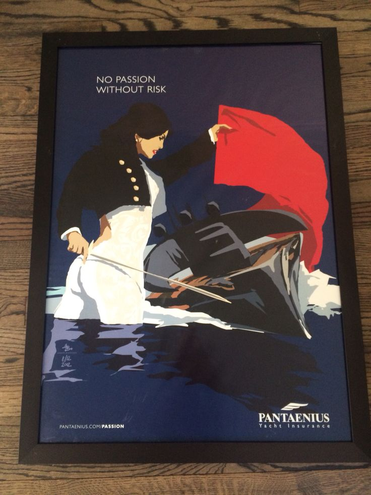 """""""No Passion Without Risk"""" by Hinnerk Bodendieck 2012 8/12 Poster Pantaenius Superyacht Insurance"""