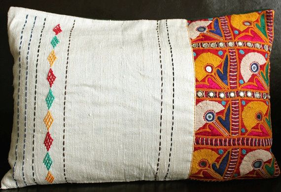 SALE-Hand embroidery patch work cushion on Etsy, $30.07 CAD