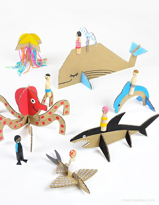 Peg Dolls & Cardboard Sea Creatures - Mr Printables