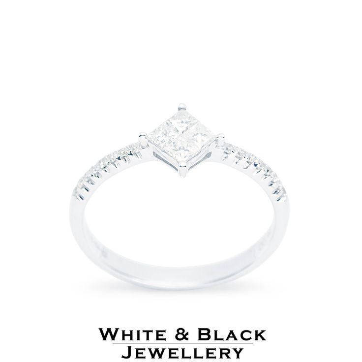 Eljegyzési gyűrű princess gyémántokkal - Engagement ring with princess cut diamonds