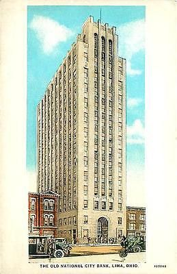 Lima Ohio OH 1925 Old National City Bank Cook Tower Collectible Vintage Postcard