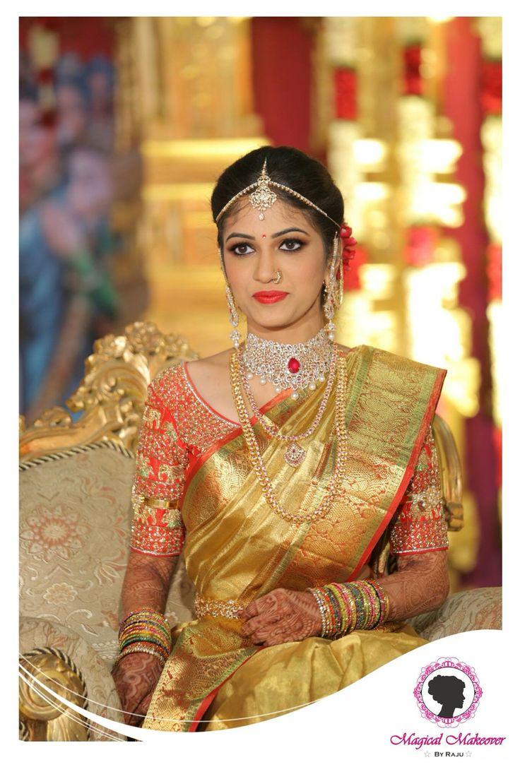 South Indian bride. Gold Indian bridal jewelry.Temple jewelry. Jhumkis.Gold and red silk kanchipuram sari.Braid with fresh jasmine flowers. Tamil bride. Telugu bride. Kannada bride. Hindu bride. Malayalee bride.Kerala bride.South Indian wedding.