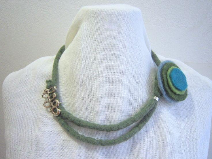 Handmade felt necklace blue, green bonze by KORMENTZACREATIONS on Etsy