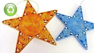 Video - Come fare bellissime stelle con carta riciclata. Come fare delle stelle da appendere per casa o all'albero di Natale usando solo carta di giornale, colla e tempere o colori acrilici.