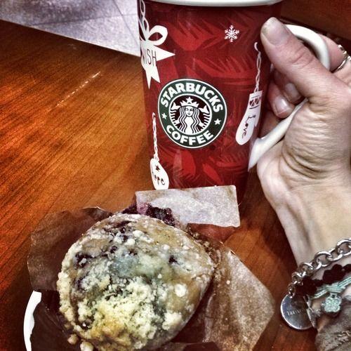 Daily breakfast: blueberry muffin & cappuccino on my Starbucks mug