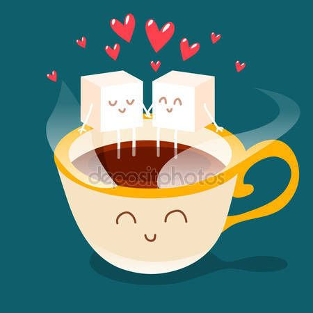 Cartolina di San Valentino. Tazza di caffè con pezzi di zucchero — Vettoriali  Stock © Katya_Bra #62041313