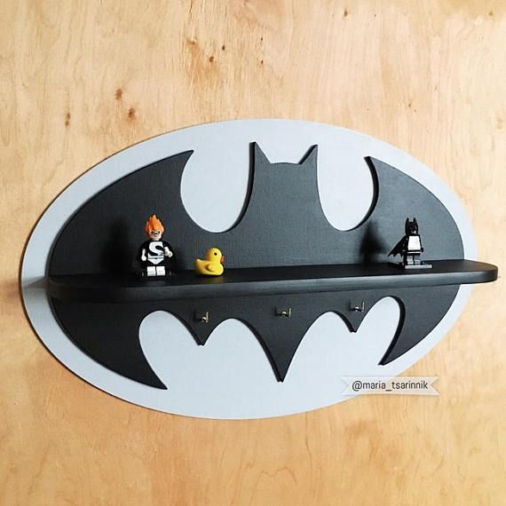"Wooden shelf ""Batman"" (19,5 in x 12 in) + 3 hooks"