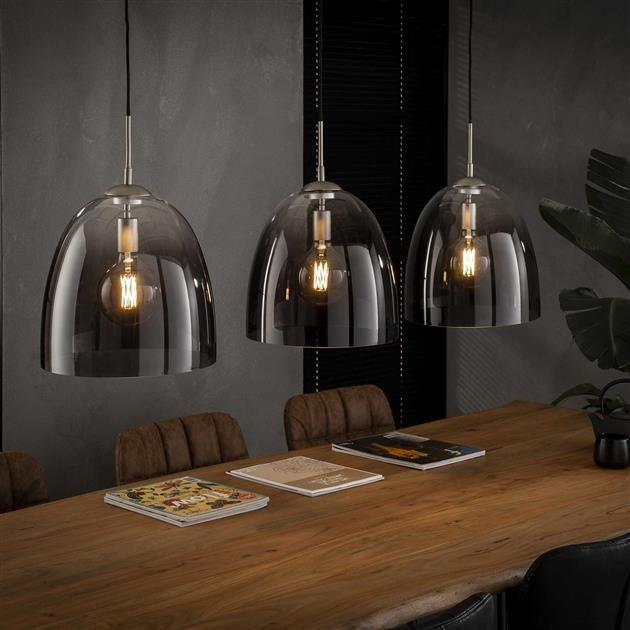 Belaluz Moderne Industriele Hanglamp Smoaked 3 Lichts Ovaal In 2020 Eettafel Verlichting Hanglamp Eetkamertafel Lamp