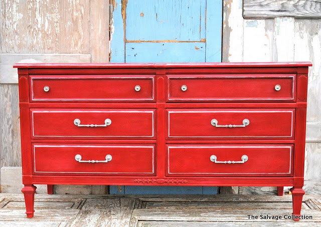 Red Dresser A Little Paint Makes Huge Difference