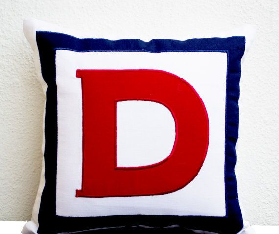 Etsy $33, Personalized White, Red, Navy Blue Monogram Pillow- Big letter pillow- Alphabet throw pillow- Customized Red letter cushion- pillow- 18x18