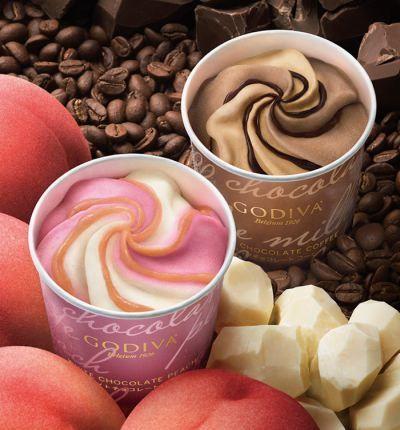 ゴディバのカップアイスに新味「ホワイトチョコレート ピーチ」&「ミルクチョコレート コーヒー」
