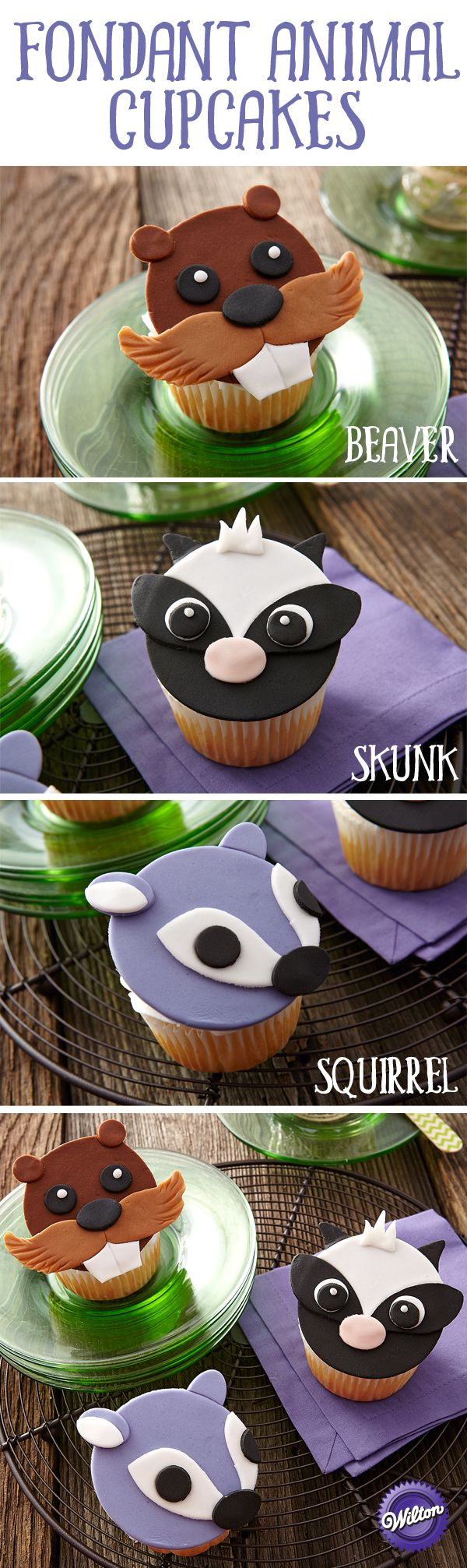 Who can resist these friendly faces? Meet our forest friends: Beaver, Skunk and Squirrel! It's easy to bring out their personalities using Decorator Preferred Fondant and Leaf and Oval Fondant Double Cut-Outs Sets to cut the simple shapes for these Forest Friends Fondant Cupcakes.