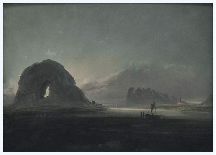 View of Torghatten and Brono Church, 1847