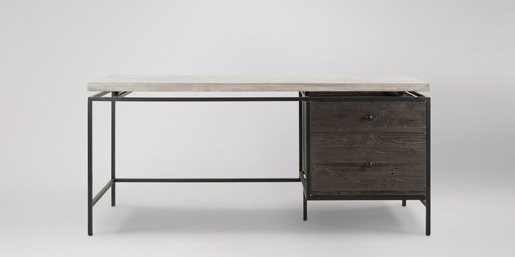 Swoon Editions Desk, industrial style in concrete and reclaimed pine - £449