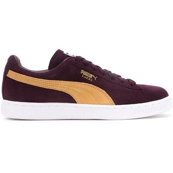 Puma Classic Lace-Up Sneakers (£81) ❤ liked on Polyvore featuring shoes, sneakers, red, red lace up shoes, wine shoes, lace up shoes, lacing sneakers and red sneakers
