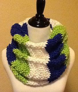 Simple, yet warm tight Chevron Infinity Scarf that can be worked up in your favorite sports team colors.