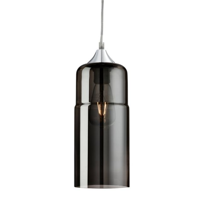 Searchlight Olsson 1 Light Ceiling Pendant Chrome With Smokey Glass Shade