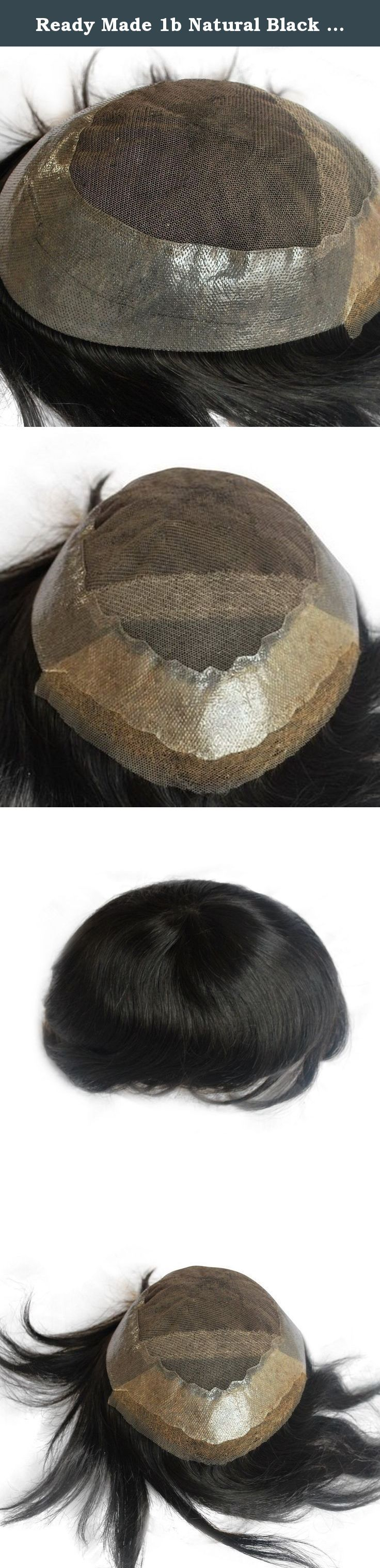 Ready Made 1b Natural Black Mens Toupee Hair Replacement Human Hair Hairpiece Pu Around. ready made toupee for men Natural black #1B hair color, which can be called darkest brown color too. base size is 10x7.5inch, can be cut to 9x7inch or 8.5x6.5inch hair length is 6inch; free style, body wave, 130% medium density.
