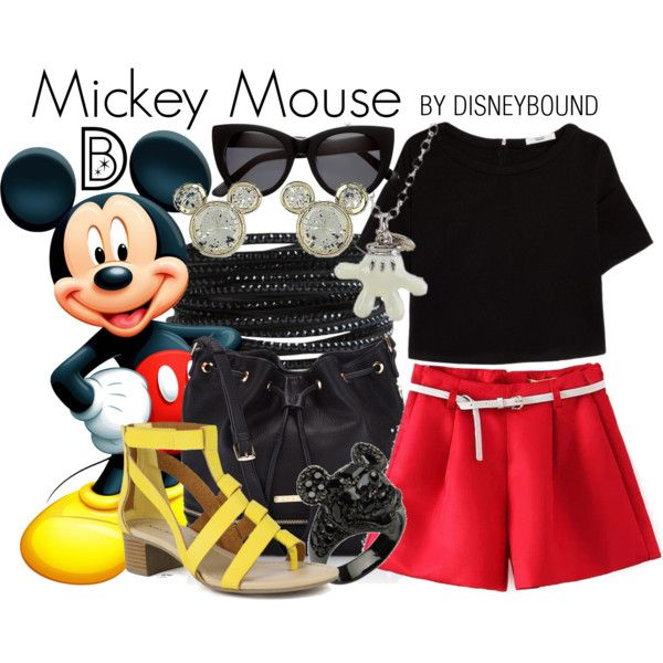 Mickey Mouse by leslieakay on Polyvore featuring MANGO, Mark & Maddux, Lipsy, Pieces, Disney, H&M, disney, disneybound and disneycharacter