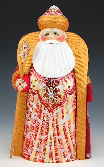 Russian Hand Painted and Carved Royal Gold and Red Santa