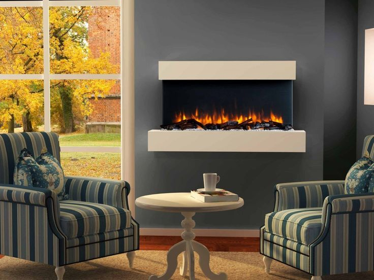 Endeavour Fires Runswick Wall Mounted Electric Fire, 220/240Vac, 50 Hz, 1&2kW, With Multi Function Remote Control with a Light Cream MDF Mantel & Plinth