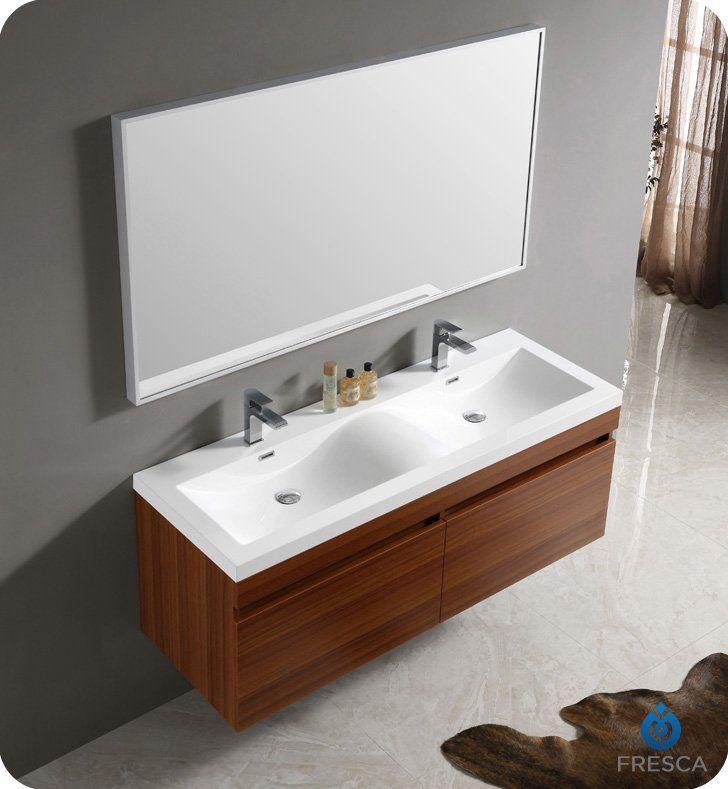 Fresca Fvn8040tk Largo 57 Teak Modern Bathroom Vanity With Wavy