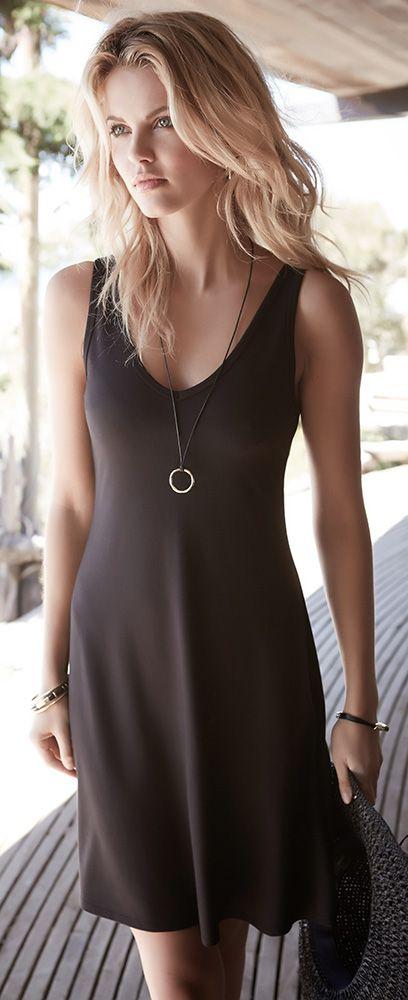 "Easy and effortless. Meet ""Brigitte,"" the perfect black dress."
