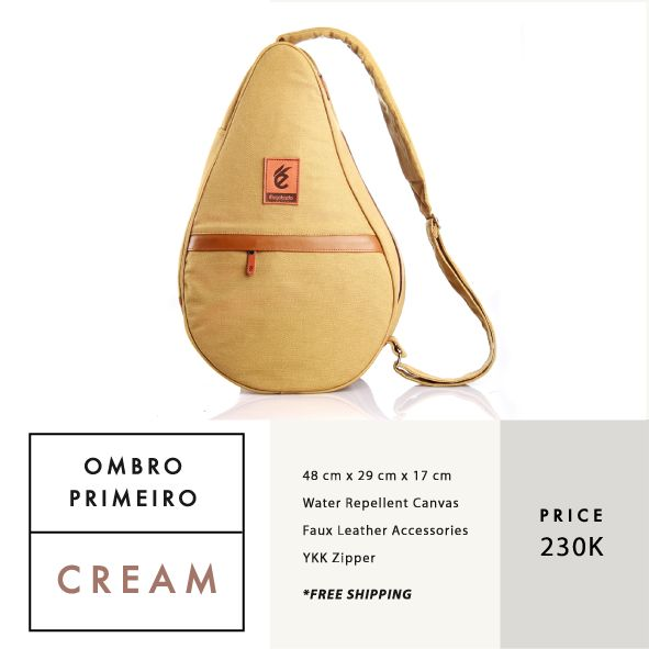 OMBRO PRIMEIRO CREAM  IDR 230.000  FREE SHIPPING ALL OVER INDONESIA    Dimension: 48 cm x 29 cm x 17 cm 23 Litre   Material: High Quality Canvas WR Faux Leather Accessories Leather Accessories YKK Zipper  #GoodChoiceforGoodLooking