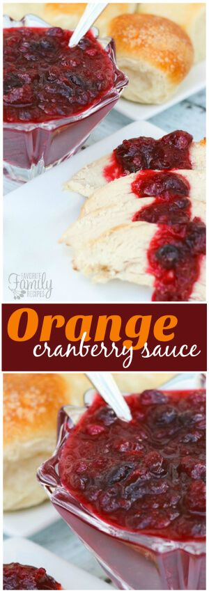 This Orange Cranberry Sauce tastes SO much better than anything you can buy in a can.  It's really easy to make your own cranberry sauce for the holidays. via @favfamilyrecipz