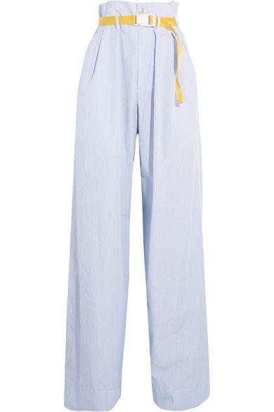 Maison Margiela | Belted pinstriped cotton-poplin wide-leg pants | NET-A-PORTER.COM