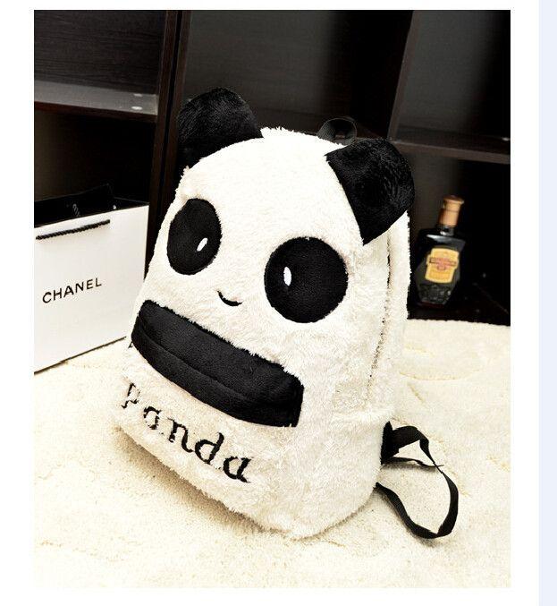 Cartoon Plush Panda Head letter Backpack women warm casual Letter school winter book travel bags pack brand mochilas rucksack