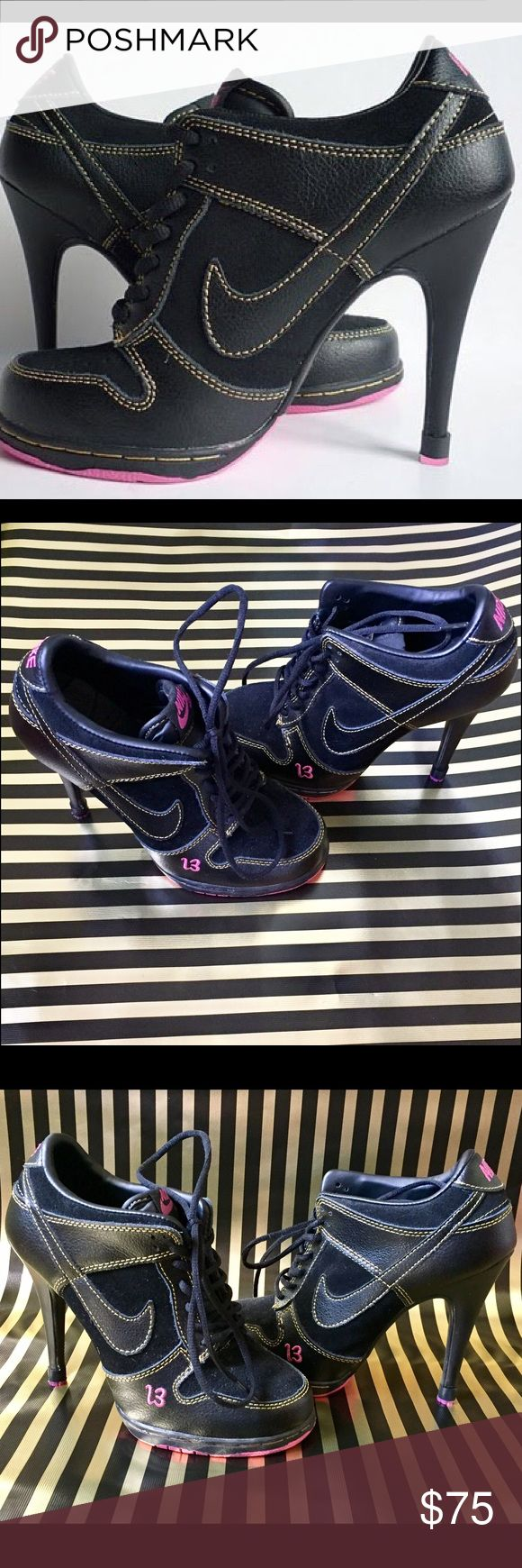 Women's Nike high heels dunk SB low  💯 Black and pink size 5.5 Women's Nike high heels dunk SB low  💯 these are sexy and sporty and sure to turn heads 😏 Nike Shoes