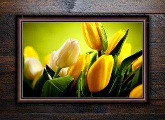 """Багетная фотокартина """"Желтые тюльпаны"""""""