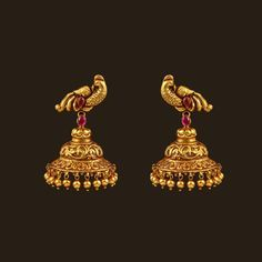 Gold Antique Peacock Earrings