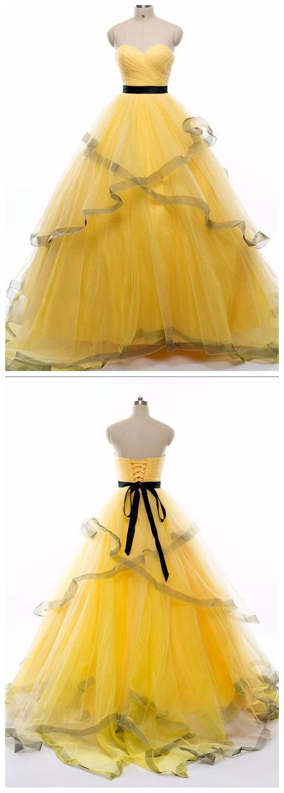 Yellow tulle chiffon black ribbon ruffle strapless gown