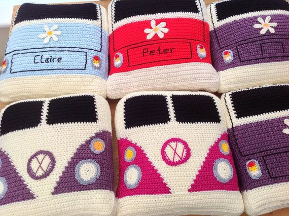 Vw Campervan Crochet Campervan Cushion Pillow Vdub Camper Splitty