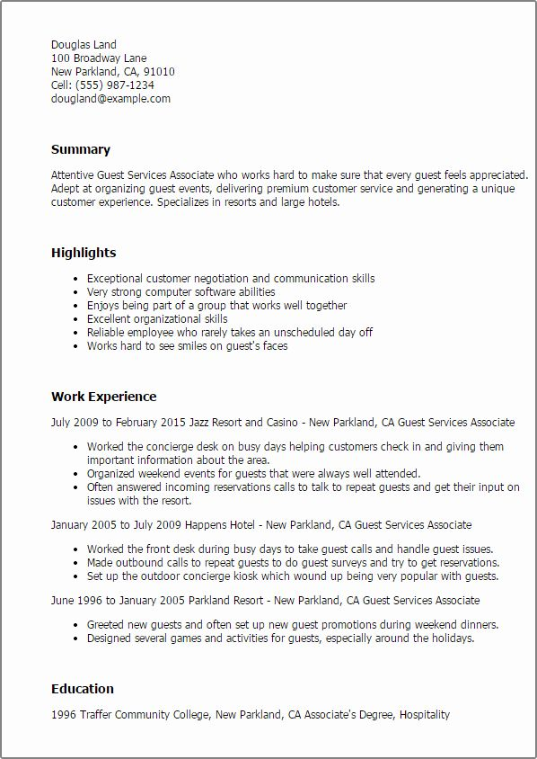 Customer Service Associate Resume Best Of Professional Guest Services Associate Templates To