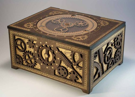 Steampunk Storage Box - Features Working Planetary Gears, and Gear-Driven Latch, by DapperDevil