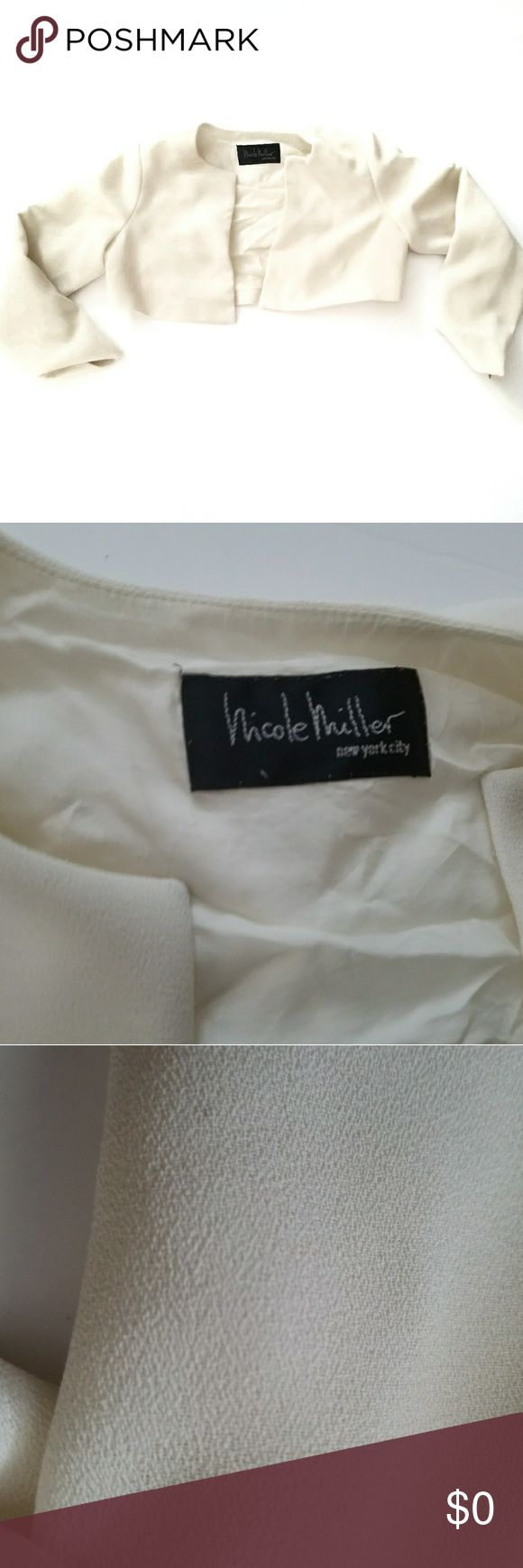 "Nicole Miller Jacket has stains , see photos, in overall decent condition!  has regular pre-owned signs of wear, in overall great condition!  At Marie's Clothing you're offered quality and honesty. * Photo editor was used to brighten background, therefore color of garment might've slightly been altered. / No Trades.  / Feel free to make an offer ; there's no such thing as a ""low ball "" offer, at Marie's Clothing Nicole Miller Jackets & Coats"