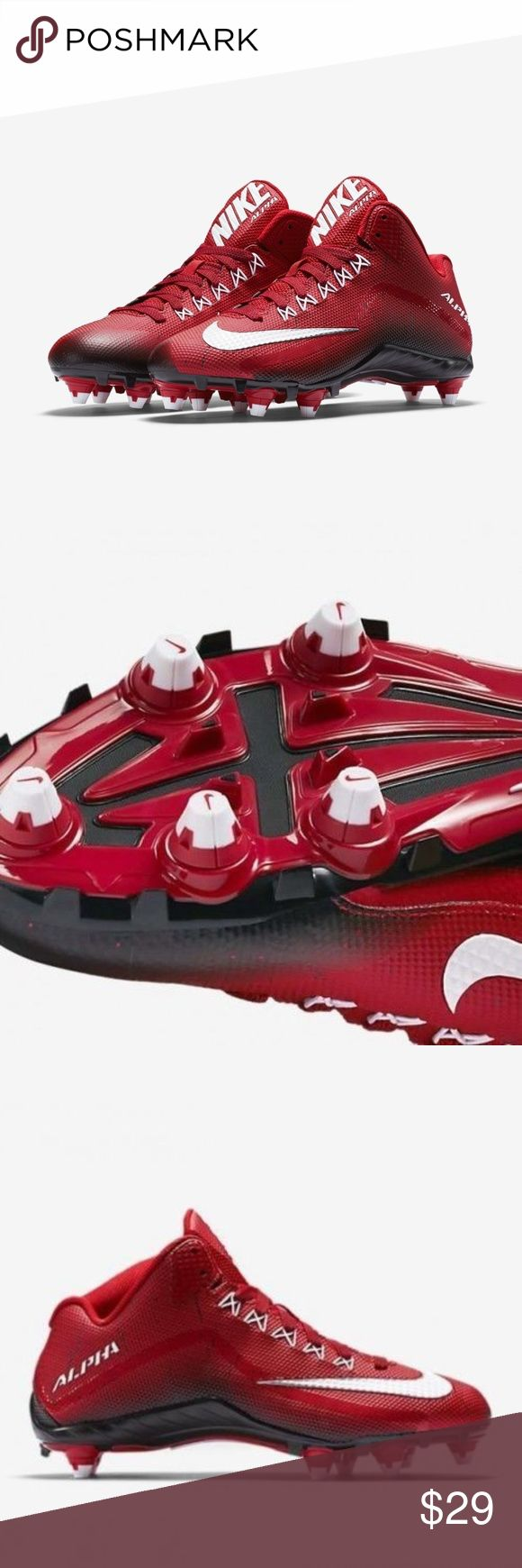 NIKE ALPHA PRO 2 3/4 D Red MEN'S FOOTBALL CLEATS NEW NIKE ALPHA PRO 2 3/4 D Red MEN'S FOOTBALL CLEATS 705409-610 Size 13 NEW WITH OUT BOX Nike Shoes Athletic Shoes