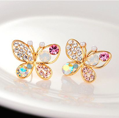 18KG Plated 2014 New Korean Luxury Hollow Shiny Colorful cystal Simulated Pearl 18KGP Butterfly Stud Earrings E3266