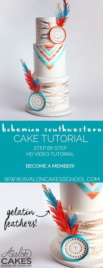 Cake Tutorial! Super fun and quick design! Gelatin feathers really make this cake awesome! Super on trend for the wedding season! Bohemian Southwestern Wedding Cake www.avaloncakesschool.com