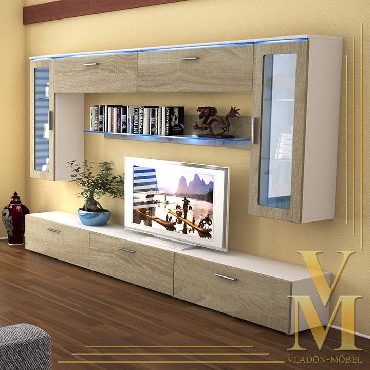 Wall Unit Living Room Furniture Madrid V2 In White / Rough Sawn Oak Http: Part 92