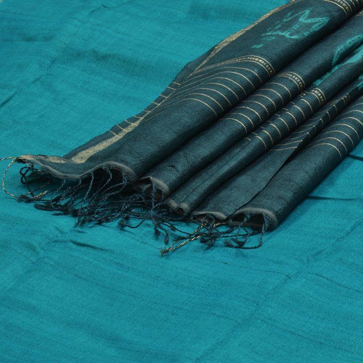 Vriksh Handwoven Shibori Tussar Silk Sari 1001868 - Parisera