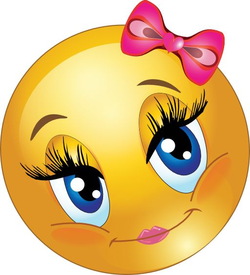 Cute Lovely Girl Smiley Emoticon Clipart - Royalty Free Public Domain