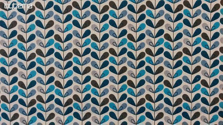 Bavlněná látka SCANDY modrá, tyrkys